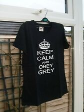 "FRUIT OF THE LOOM LADY FIT T SHIRT ""KEEP CALM AN OBEY GREY"" SIZE M NEW"