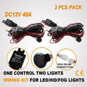 2x HIGH BEAM WIRING KIT HARNESS LOOM FOR SPOT LED FOG DRIVING WORK LIGHT BAR 12V