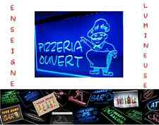 LED PANNEAU 40x30 RESTAURANT COMMERCE RESTO PIZZA OUVERT ENSEIGNE LUMINEUSE NEON