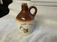 Vintage CORN LIKKER Crock Jug from PA Kentucky ~ Hillbilly with pipe