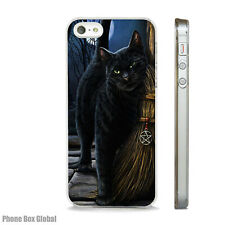 BLACK CAT SALEM WITCHES BROOM CASE FITS IPHONE 4 4S 5 5S 5C 6 6S 7 8 SE PLUS X