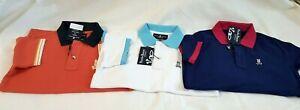 3 NWT Psycho Bunny Boy's Classic Polo T-Shirt Size M & S White Crabapple Galaxy