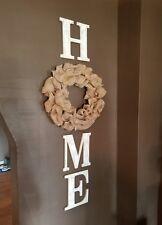 Burlap Wreath & Distressed White Wood Home Letters Wall Farmhouse Rustic Decor
