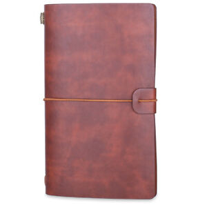 Journal Notebook Refillable Notepad Diary Vintage PU Leather Travel Black Brown