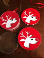 Set Of 8 Cute! Felt Coasters Reindeer Red White Christmas New