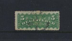 Canada 1876 Registration Stamp #F2d Perf 12x11.5  5c green U Slight tears F $200