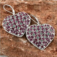 African Ruby Kagem Zambian Emerald Heart Earrings in Platinum Overlay Sterling
