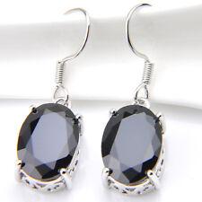 Oval Cut Black Onyx Gemstone Silver Dangle Hook Earrings Fashion Jewelry Gift