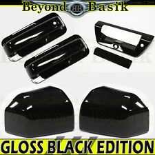 15-17 Ford F150 St/Ext Cab GLOSS BLACK Door Handle COVERS+Bowls+Mirror+TailgateA