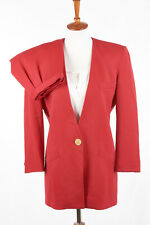 Vintage Womens CHRISTIAN DIOR Skirt Suit 6 in Cherry Red Worsted Wool USA