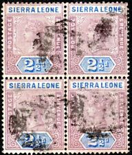 SIERRA LEONE 1897 QV USED BLOCK OF 4 2.1/2P LILAC/ULTRA CAT VAL USED SINGLE $44