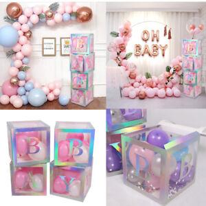 4pc Baby Shower Boxes Transparent Cardboard Storage Balloon Birthday Party Decor