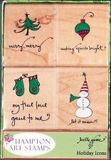 HOLIDAY ICONS - Hampton Art Boxed Set Christmas Wood Mntd Rubber Stamps