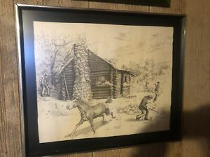 Artist B. LUNDQUIST Art Sketching Drawing Signed & Numbered Power Cabin Incident