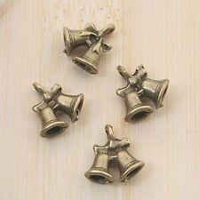 10pcs antiqued bronze double bells pendant charm G875
