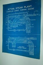 circa 1910. BLUE PRINT. LOUISVILLE LEAVIT PUMPING ENGINE. BOSTON
