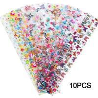 10pcs Foil Wraps Decal Glitter Sticker BUTTERFLY Nail Transfer Foils Art F3B1