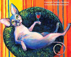 ART PRINT Funny Sphynx Cat drinking wine painting Svetlana Novikova