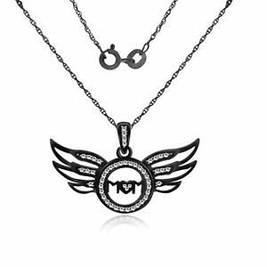0.15Ct Diamond Angel Wing Mom Pendant With Chain Sterling Silver -IGI-