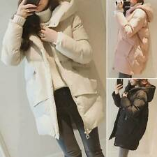 Womens Padded Puffer Coats Hooded Long Jacket Quilted Warm Outwear Zip Up Parka