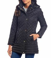 Preston & York Womens Jacket Black Size XL Hooded Full-Zip Quilted $149 147