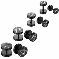 Men's Stainless Steel Gauges Illusion Tunnel Pentagram Studs Earrings Ear Plugs