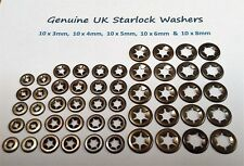 Starlock Washers For Shaft Retaining Push On Clips Spring Steel Star 50PCE