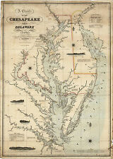 1862 Coast Survey Map Chart Chesapeake Delaware Bay Art Poster Print Wall Decor