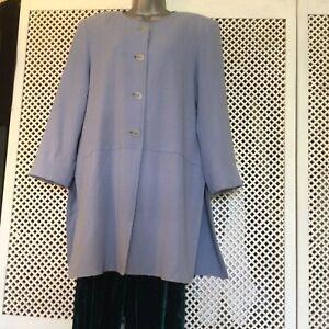 VINTAGE JEAN MUIR London Pale Blue/lilac Wool 3/4 COAT/JACKET Size 14