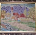 Antique AUSTRIA Tapestry NEEDLEPOINT, MAYRHOFEN, TYROL, Framed 1940's? VG Cond