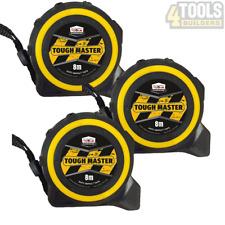 3 x Toughmaster Pocket Tape Measures Metric / Imperial 8M/26ft Anti-Impact