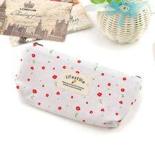 Vintage Flower Floral Pencil Pen bag Cosmetic Makeup Storage Bag Case Purse CA