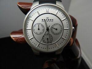 Pre Owned Skagen Quartz Movement White Dial Men's Watches 331XLSL1