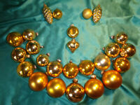 ~ Konvolut 25 Christbaumkugeln Glas Zapfen Herz gold Weihnachtsugeln Vintage CBS