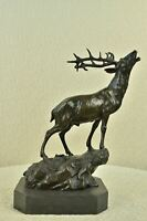 "Elk or Reindeer Caribou Stag Bronze Sculpture Statue Decor 15"" x 16"""