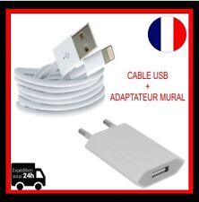 Cable usb Chargeur  IPhone 5 6 7 7+ 8 8+ X+ Eu Prise adaptateur mural de voyage