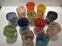 SET. n.12  Original Murano glass bicchieri goti da fornasa handmade murrina