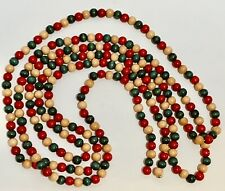 Vintage Country Christmas Garland Wooden Beads +9 Feet