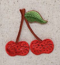 Red Cherries on Stem - Sequins - Iron on Applique/Embroidered Patch