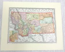 1901 Antique Map of Montana State United States of America USA Americana