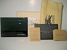 NEW Burberry Black Green Patent Leather ID Credit Card Cash Case Wallet Italy BX