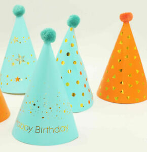 10x Blue/Orange/Gold Happy Birthday Party Hat - Paper Card Cone Hats Dress Up