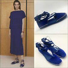 Hermes Blue Suede Leather Espadrilles Loafer Flats Shoes Pumps Size 39 UK 6 US 9
