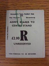 20/11/1979 Ticket: Shrewsbury Town v Stoke City & All-Stars v Beacon Radio [Char