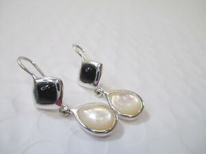 Sterling Silver Mother of Pearl Onyx Earrings