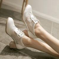 Fashion Womens Block Heel Ladies Oxford Brogue Mesh Lace-up Shoes Plus Size