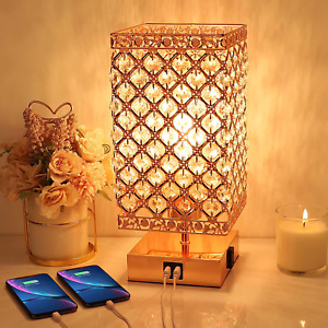 Crystal Table Lamp, Touch Control Bedside Lamps 3 Way Dimmable Crystal Lamp with