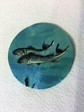 "Hand Painted Natural Flat Round Seashell Art Fish Swimming In Ocean 3""X3"""