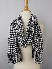 Charter Club Chenille Houndstooth Warm Winter Knit Fringe Scarf Black #5805
