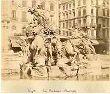 France, Lyon, la fontaine Bartholdi Vintage albumen print  Tirage albuminé